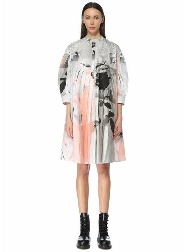 Alexander McQueen Alexander McQueen m Yaka Soyut Desenli Bol Midi Elbise 101611703 Beyaz